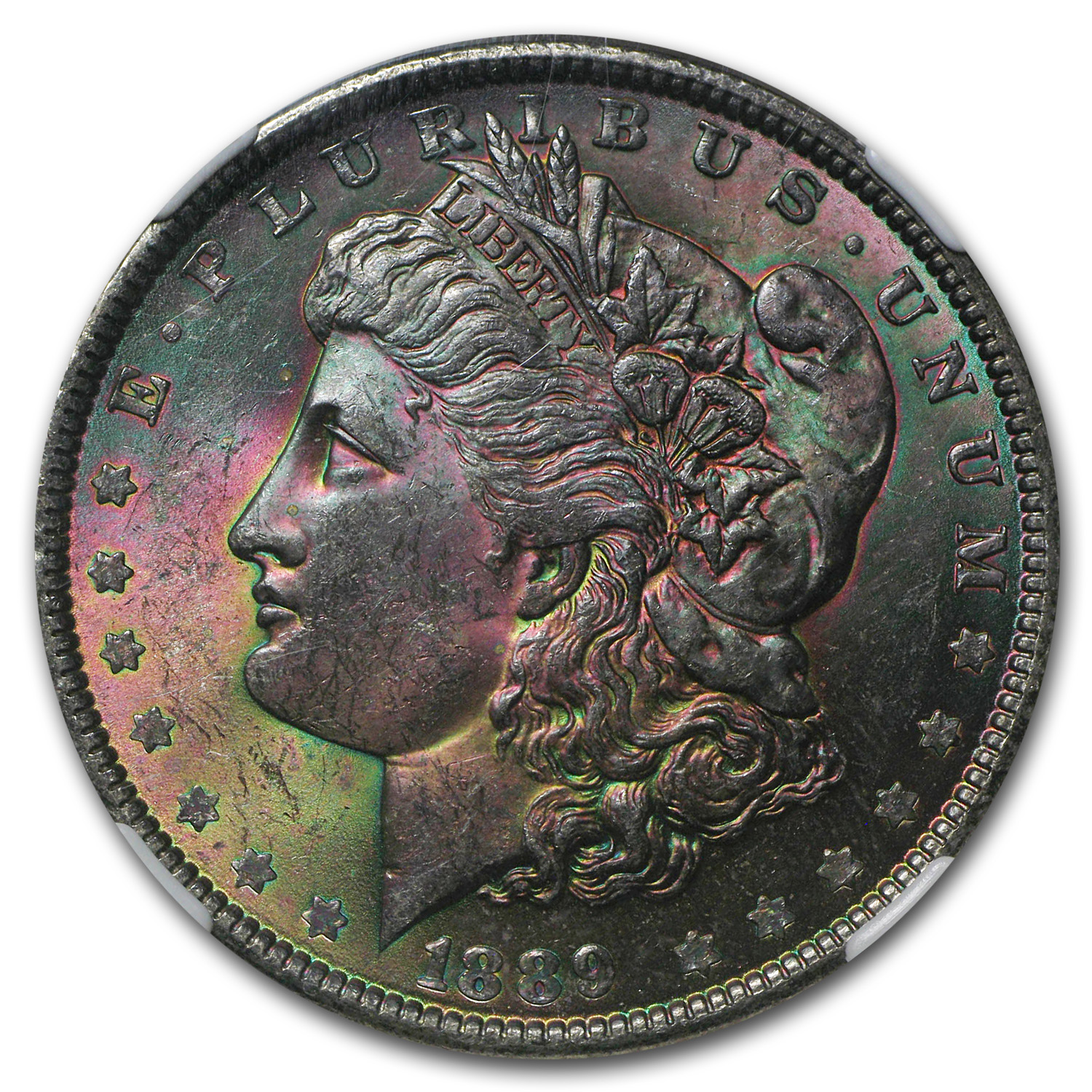 1889 Morgan Dollar MS-63 NGC (CAC, Prismatic Rose)